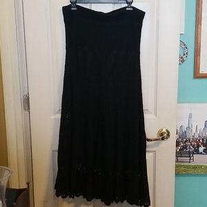 Lapis Black Knit Long Skirt